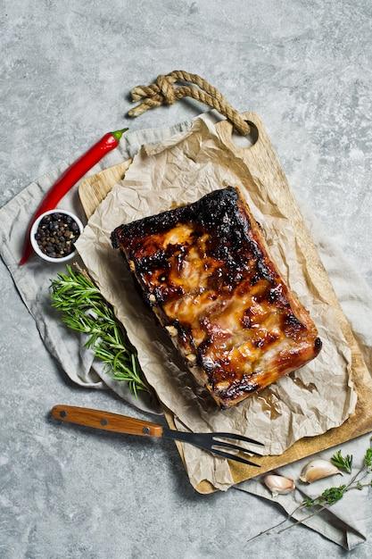 Grilled pork ribs. Premium Photo