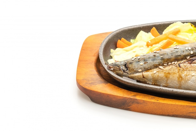 Grilled saba fish steak with teriyaki sauce Premium Photo