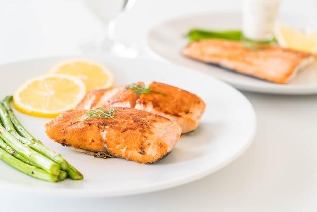 Grilled salmon steak Free Photo