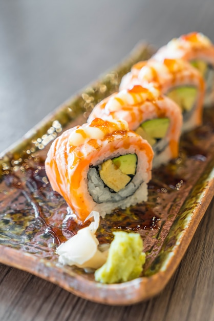 Premium Photo Grilled Salmon Sushi Roll