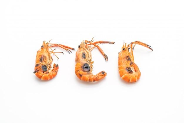 Grilled shrimps on white background Premium Photo