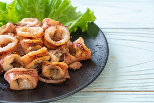 Grilled squid on plate Premium Photo