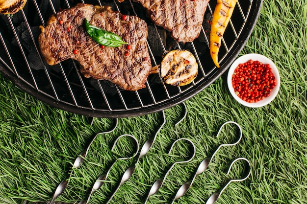 Grilled steak and vegetable with metallic skewer on barbecue grill over green grass background Free Photo