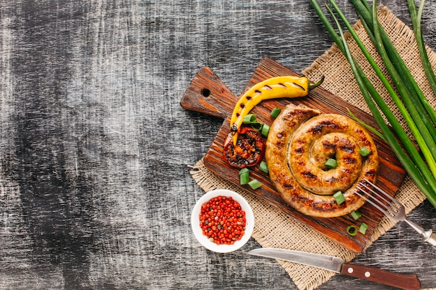 Grilled vegetable and spiral sausage with red peppercorn Free Photo