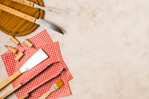 Grilling tools prepared for barbecue Free Photo