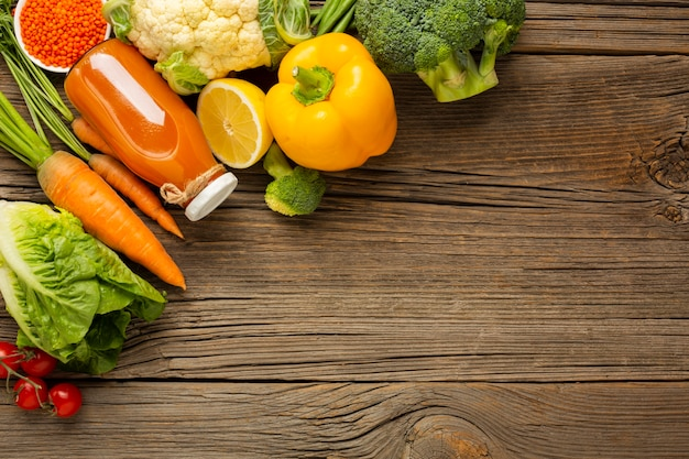 Groceries on wood table with copy space Free Photo