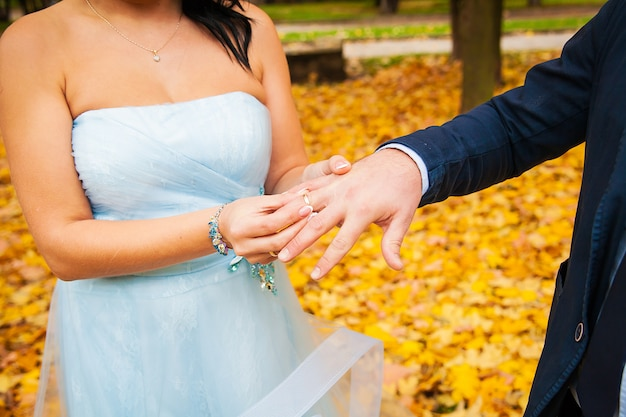 Groom's hand putting a wedding ring on bride's finger Premium Photo