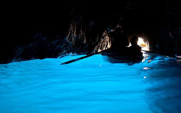 Grotta azzurra, cave on the coast of the island of capri. Premium Photo