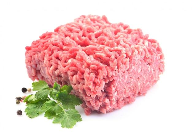 Ground beef on white Premium Photo