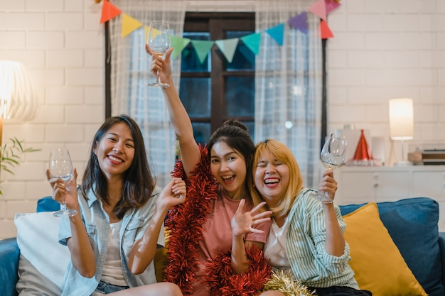 Group of asian women party at home Free Photo