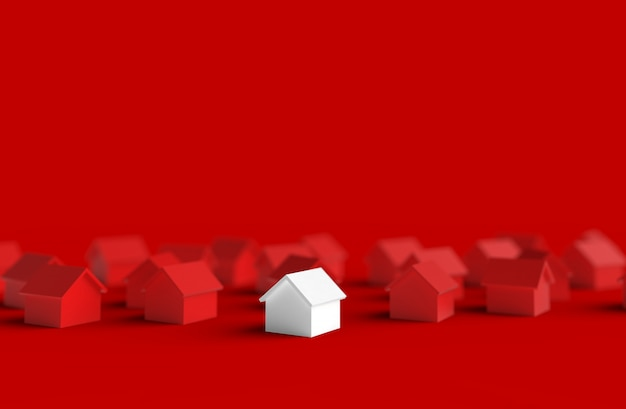 Group of blurred house isolated on red background. 3d illustration. Premium Photo