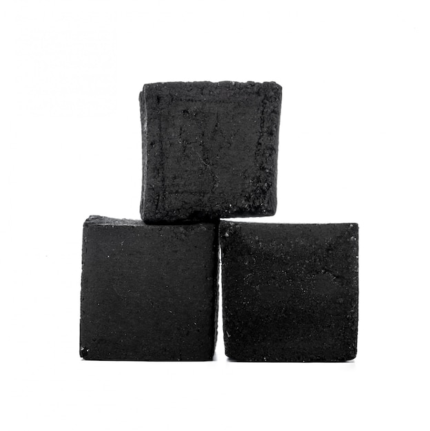 Group of charcoal cubes isolated on white Premium Photo
