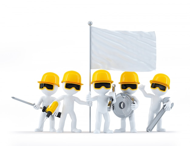 Group of construction workers/builders with tools and blank flag. isolated on white background Free Photo