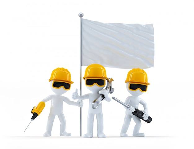 Group of construction workers with flag Free Photo
