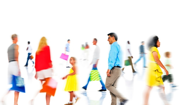 Group of  diverse busy people shopping Free Photo