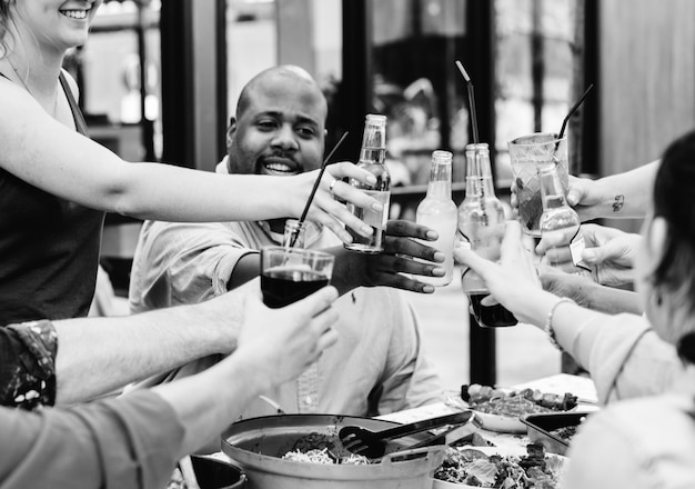 Group of diverse friends enjoying summer party together Free Photo