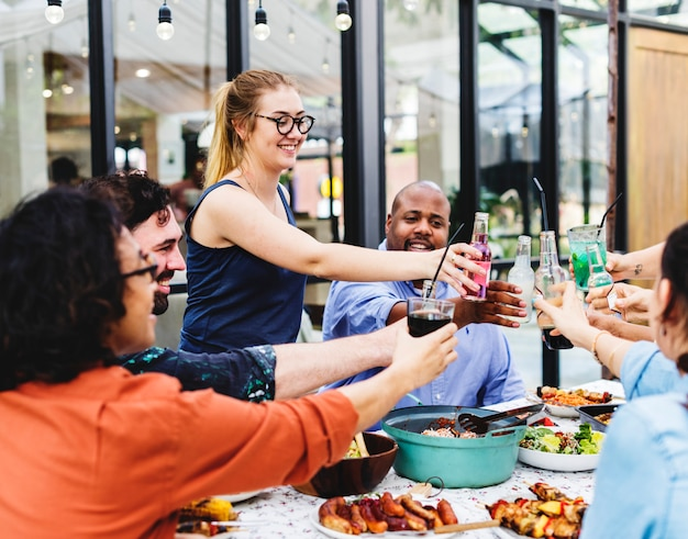 Group of diverse friends enjoying summer party together Premium Photo