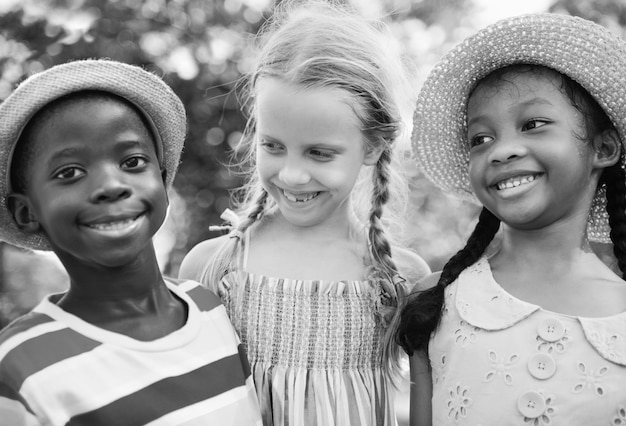 Group of diverse kids playing in the park Free Photo