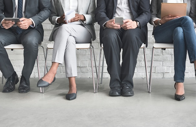 Group of diverse people are waiting for a job interview Premium Photo