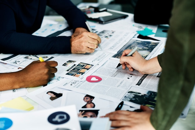 Group of diverse people brainstorming together Free Photo