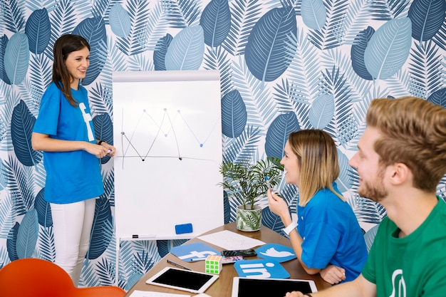 Group of executive wearing social media t-shirt planning project Free Photo