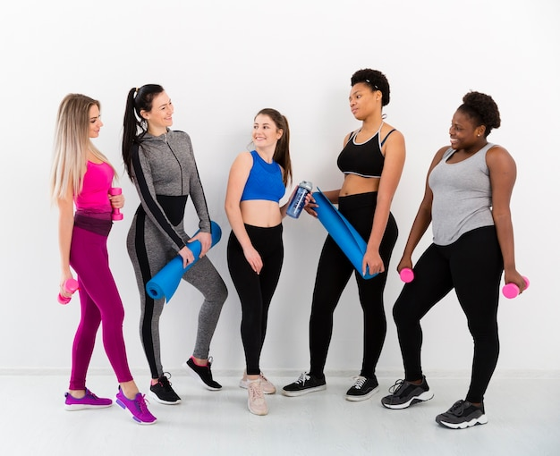 Group of females on break after training Free Photo