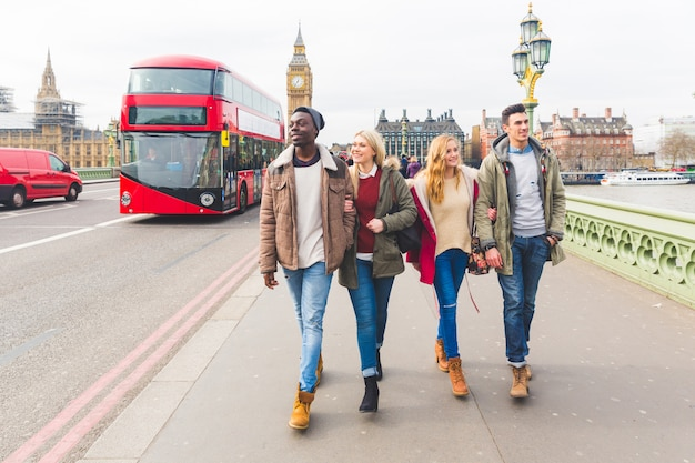 Group of friends having fun in london Premium Photo