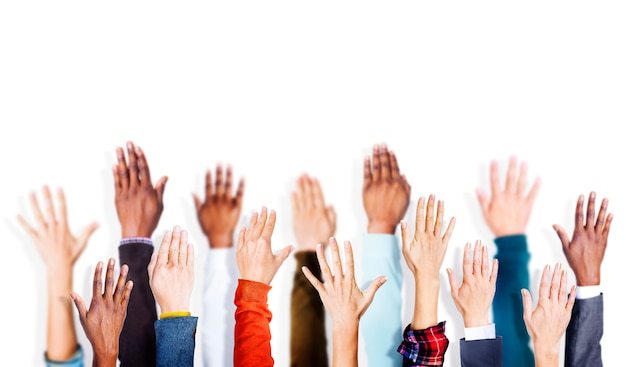 Group of hands arms raised vounteer concept Premium Photo