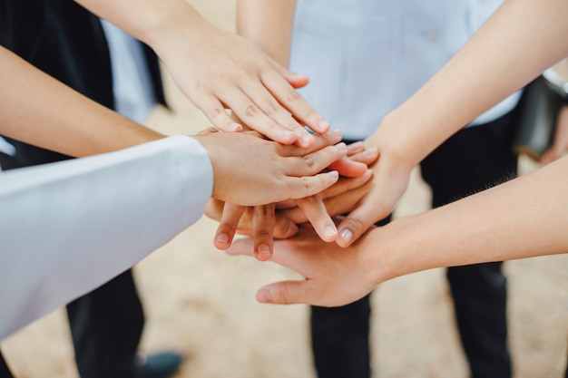 Group of hands together joining for teamwork | Premium Photo