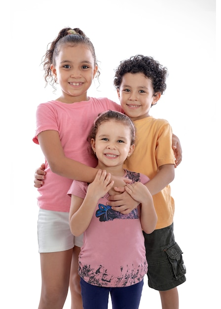 Group of happy family kids smiling isolated Premium Photo