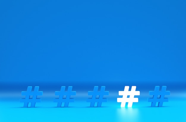 Group of hashtag icon isolated on blue Premium Photo