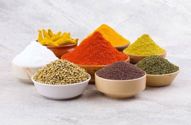 Group of indian spices Premium Photo