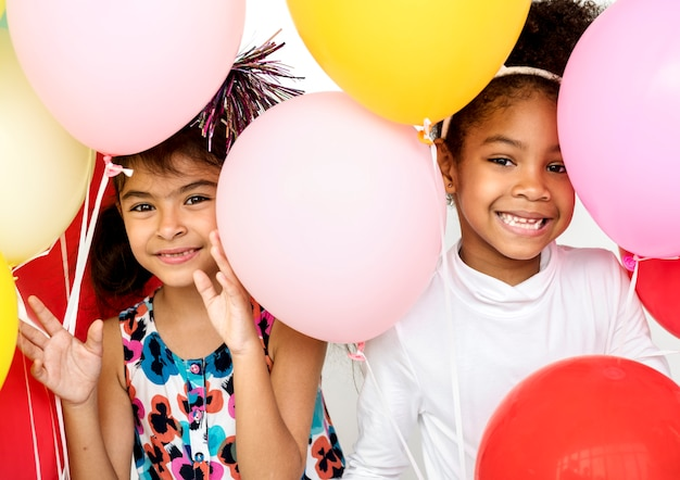 Group of kids celebrate party fun together Premium Photo