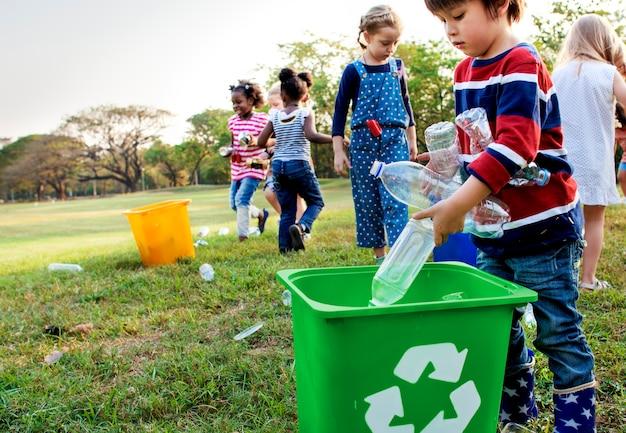 Group of kids school volunteer charity environment Premium Photo