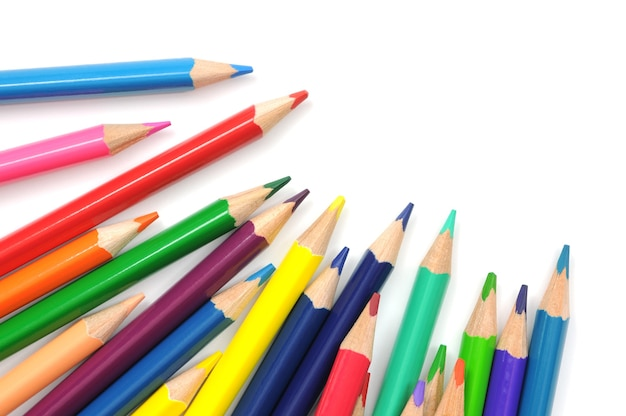 A group of multicolored pencils isolated on white Premium Photo