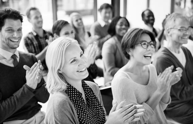 Group of multiethnic cheerful people applauding Premium Photo