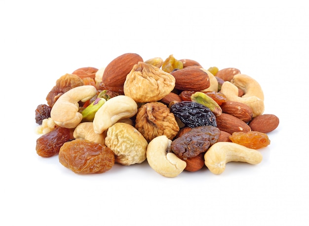 Group of nuts isolated on white Premium Photo
