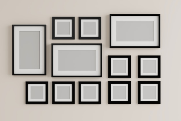 Group of blank empty picture frame on the wall Photo | Premium Download