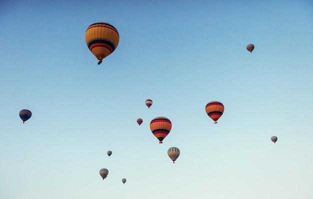 푸른 하늘에 대 한 다채로운 뜨거운 공기 풍선의 그룹 프리미엄 사진