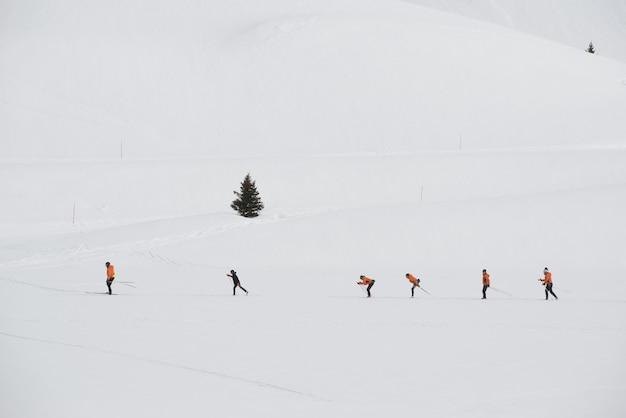 スキー場でトレーニングクロスカントリースキーヤーのグループ 無料写真