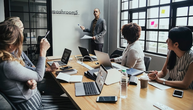 group of diverse people having a business meeting photo free download