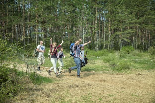 화창한 여름 날에 자연에서 재미 행복 젊은 친구의 그룹 무료 사진