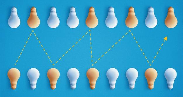 Группа лампочек выдающаяся, светящаяся по-разному. концепции идеи бизнес-творчества. Premium Фотографии