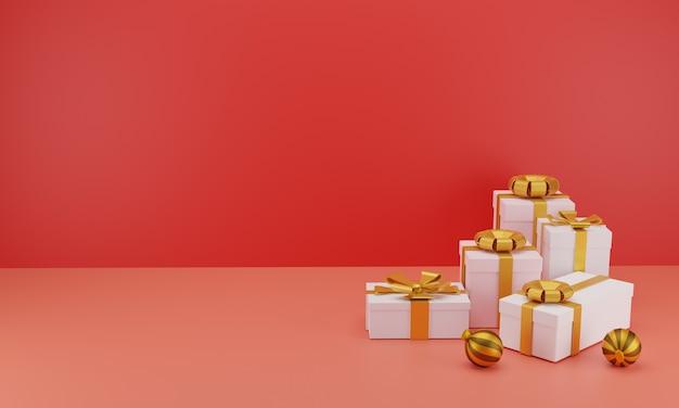 빨간색으로 생일 또는 크리스마스 축하를위한 골드 리본이 달린 현실적인 선물 그룹 프리미엄 사진