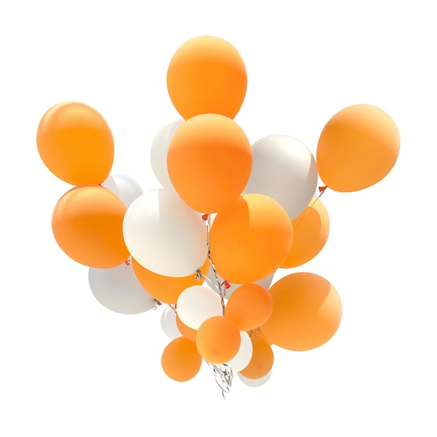 Group of orange and white color balloons for decoration in celebrations Premium Photo