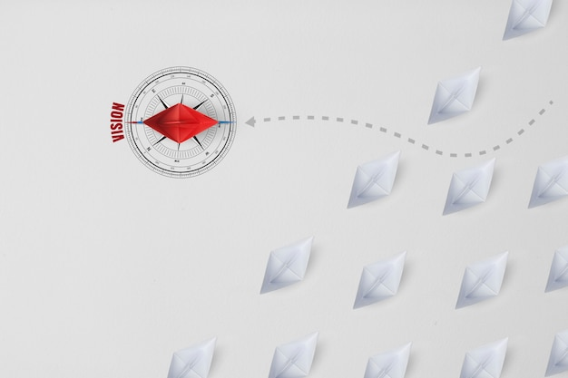 Group of paper ship in one direction and with one individual pointing in the different way as a business icon for innovative solution. Premium Photo