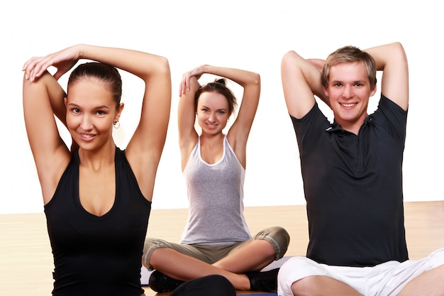 Group of people doing fitness exercises Free Photo