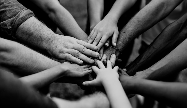 Group of people holding hand assemble togetherness | Premium Photo
