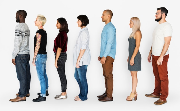 Group of people standing line up together Premium Photo