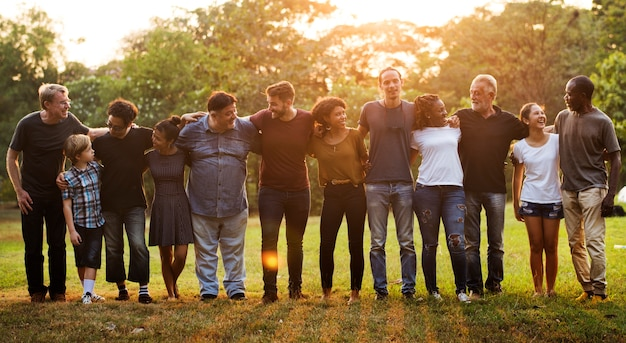 Group of people support unity arm around together Premium Photo